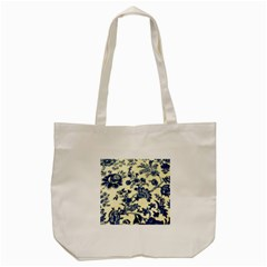 Vintage Blue Drawings On Fabric Tote Bag (Cream)