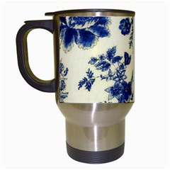 Vintage Blue Drawings On Fabric Travel Mugs (white)