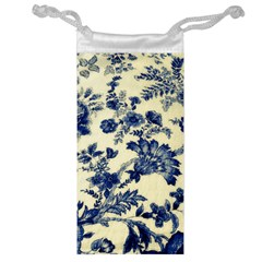 Vintage Blue Drawings On Fabric Jewelry Bag