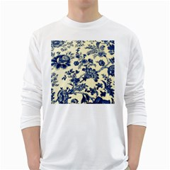Vintage Blue Drawings On Fabric White Long Sleeve T Shirts