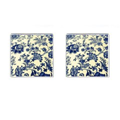 Vintage Blue Drawings On Fabric Cufflinks (Square)