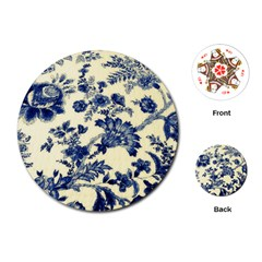 Vintage Blue Drawings On Fabric Playing Cards (round)