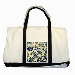 Vintage Blue Drawings On Fabric Two Tone Tote Bag
