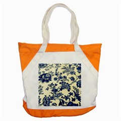 Vintage Blue Drawings On Fabric Accent Tote Bag