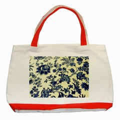 Vintage Blue Drawings On Fabric Classic Tote Bag (red)