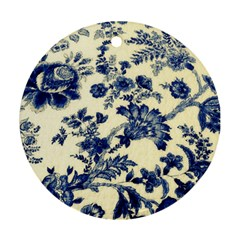 Vintage Blue Drawings On Fabric Round Ornament (Two Sides)