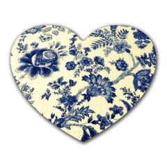 Vintage Blue Drawings On Fabric Heart Mousepads