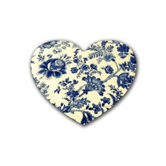 Vintage Blue Drawings On Fabric Rubber Coaster (heart)