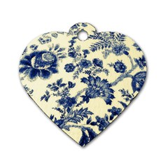 Vintage Blue Drawings On Fabric Dog Tag Heart (one Side)