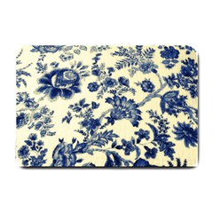Vintage Blue Drawings On Fabric Small Doormat