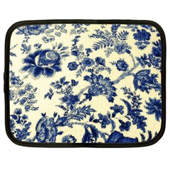 Vintage Blue Drawings On Fabric Netbook Case (large)