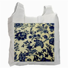Vintage Blue Drawings On Fabric Recycle Bag (two Side)