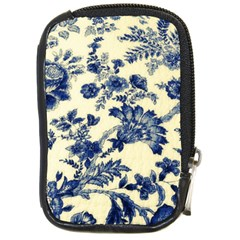 Vintage Blue Drawings On Fabric Compact Camera Cases