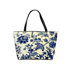 Vintage Blue Drawings On Fabric Shoulder Handbags