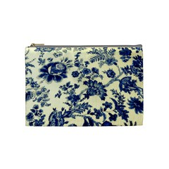 Vintage Blue Drawings On Fabric Cosmetic Bag (medium)