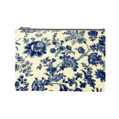 Vintage Blue Drawings On Fabric Cosmetic Bag (Large)