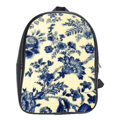 Vintage Blue Drawings On Fabric School Bags(large)