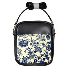 Vintage Blue Drawings On Fabric Girls Sling Bags