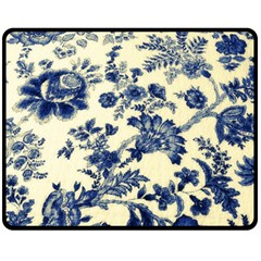 Vintage Blue Drawings On Fabric Fleece Blanket (medium)