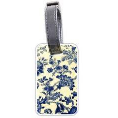 Vintage Blue Drawings On Fabric Luggage Tags (two Sides)