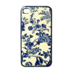 Vintage Blue Drawings On Fabric Apple Iphone 4 Case (black)