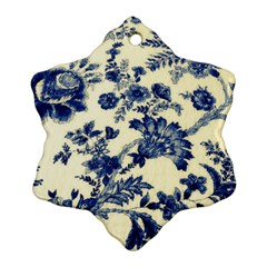 Vintage Blue Drawings On Fabric Snowflake Ornament (two Sides)