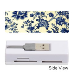 Vintage Blue Drawings On Fabric Memory Card Reader (stick)