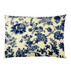 Vintage Blue Drawings On Fabric Pillow Case (two Sides)
