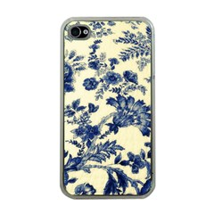 Vintage Blue Drawings On Fabric Apple Iphone 4 Case (clear)
