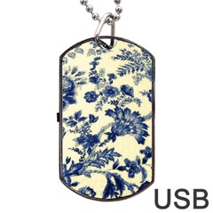 Vintage Blue Drawings On Fabric Dog Tag Usb Flash (two Sides)