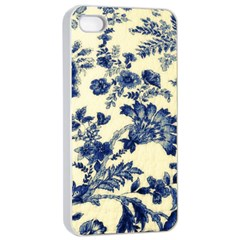 Vintage Blue Drawings On Fabric Apple Iphone 4/4s Seamless Case (white)