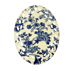 Vintage Blue Drawings On Fabric Ornament (oval Filigree)