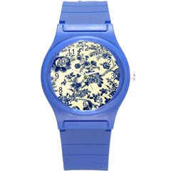 Vintage Blue Drawings On Fabric Round Plastic Sport Watch (s)