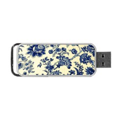 Vintage Blue Drawings On Fabric Portable Usb Flash (one Side)