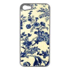Vintage Blue Drawings On Fabric Apple Iphone 5 Case (silver)
