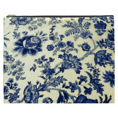 Vintage Blue Drawings On Fabric Cosmetic Bag (xxxl)