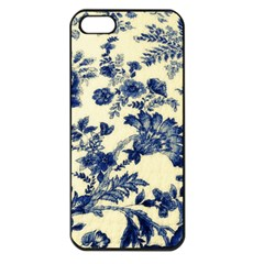 Vintage Blue Drawings On Fabric Apple Iphone 5 Seamless Case (black)