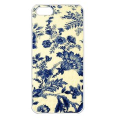 Vintage Blue Drawings On Fabric Apple Iphone 5 Seamless Case (white)