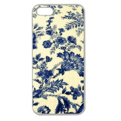 Vintage Blue Drawings On Fabric Apple Seamless Iphone 5 Case (clear)