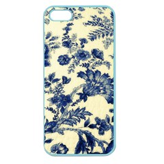 Vintage Blue Drawings On Fabric Apple Seamless Iphone 5 Case (color)