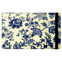 Vintage Blue Drawings On Fabric Apple Ipad 2 Flip Case