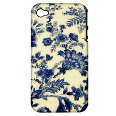 Vintage Blue Drawings On Fabric Apple Iphone 4/4s Hardshell Case (pc+silicone)