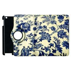 Vintage Blue Drawings On Fabric Apple Ipad 2 Flip 360 Case
