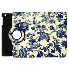 Vintage Blue Drawings On Fabric Apple Ipad Mini Flip 360 Case