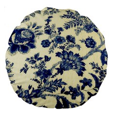 Vintage Blue Drawings On Fabric Large 18  Premium Round Cushions