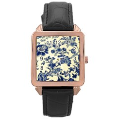 Vintage Blue Drawings On Fabric Rose Gold Leather Watch