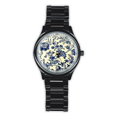 Vintage Blue Drawings On Fabric Stainless Steel Round Watch