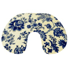 Vintage Blue Drawings On Fabric Travel Neck Pillows