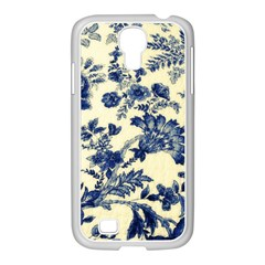 Vintage Blue Drawings On Fabric Samsung Galaxy S4 I9500/ I9505 Case (white)