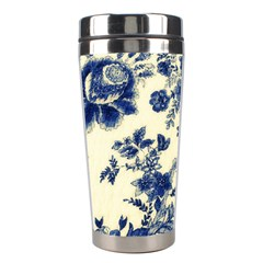 Vintage Blue Drawings On Fabric Stainless Steel Travel Tumblers